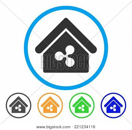Ripple Realty rounded icon. Style is a flat grey symbol inside light blue circle with bonus colored variants. Ripple Realty vector designed for web and software interfaces.