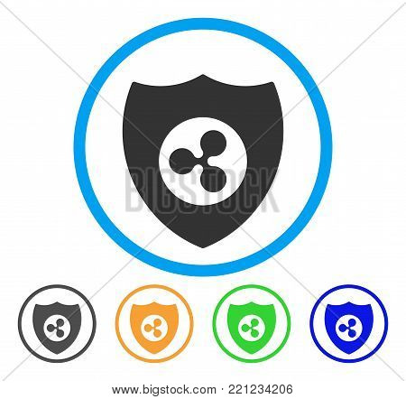 Ripple Shield rounded icon. Style is a flat gray symbol inside light blue circle with bonus colored versions. Ripple Shield vector designed for web and software interfaces.