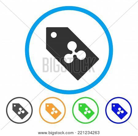 Ripple Token rounded icon. Style is a flat grey symbol inside light blue circle with bonus colored versions. Ripple Token vector designed for web and software interfaces.