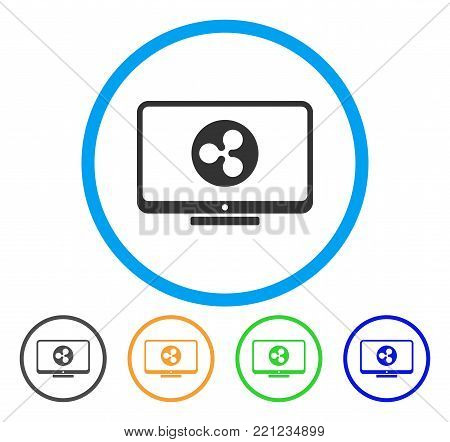 Ripple Display rounded icon. Style is a flat grey symbol inside light blue circle with bonus colored variants. Ripple Display vector designed for web and software interfaces.