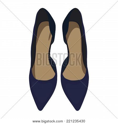 Vector Dark Blue Shoes, View from Above. Illustration of Women's High Heel Shoes. Vector Drawing of Women's High Heel Dark Blue Shoes