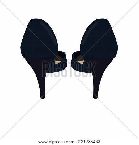 Vector Dark Blue Shoes, Back View. Illustration of Women's High Heel Shoes. Vector Drawing of Back View of Women's High Heel Dark Blue Shoes