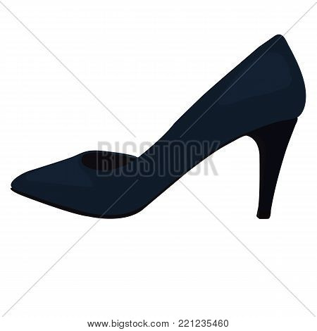 Vector Dark Blue Shoes, Back View. Illustration of Women's High Heel Shoes. Vector Drawing of Profile View of Women's High Heel Dark Blue Shoes