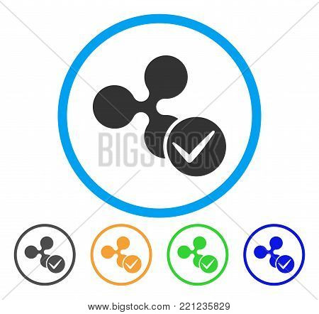 Accept Ripple rounded icon. Style is a flat gray symbol inside light blue circle with bonus color versions. Accept Ripple vector designed for web and software interfaces.