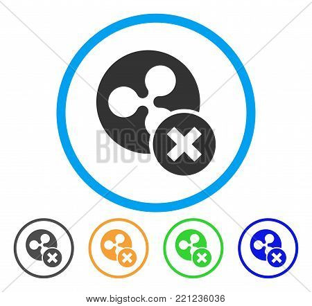 Cancel Ripple rounded icon. Style is a flat gray symbol inside light blue circle with bonus colored variants. Cancel Ripple vector designed for web and software interfaces.
