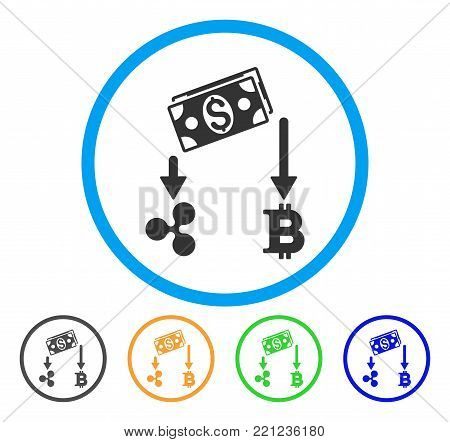Cryptocurrency Cashflow rounded icon. Style is a flat grey symbol inside light blue circle with additional colored versions. Cryptocurrency Cashflow vector designed for web and software interfaces.