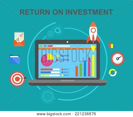 Return on investment, investment income, net profit, up schedule, the successful turnover of invested funds. The concept of increasing profits.