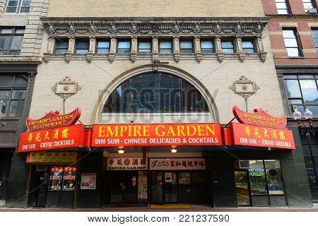 BOSTON - JUN. 13, 2015: Empire Garden Restaurant on No. 692 Washington Street in Historic Chinatown in downtown Boston, Massachusetts, USA. This building was originally Globe Theatre built in 1903.