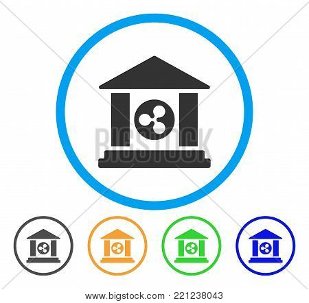 Ripple Bank Building rounded icon. Style is a flat grey symbol inside light blue circle with additional colored variants. Ripple Bank Building vector designed for web and software interfaces.