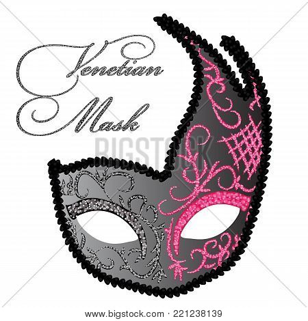 Vector Drawing of Venetian Mask. Illustration of Venetian Carnival Mask. Vector Carnival Mask