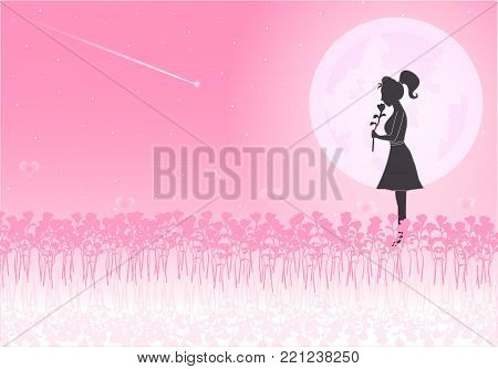 A loving woman holding a rose standing in a pink rose garden an on pink hearts background. Moonlight of love splashes and meteors send love to her. Love on Valentine`s Day. Background illustrator.