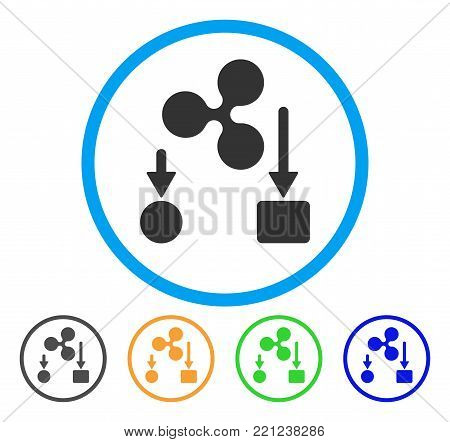 Ripple Cashflow rounded icon. Style is a flat grey symbol inside light blue circle with bonus color versions. Ripple Cashflow vector designed for web and software interfaces.