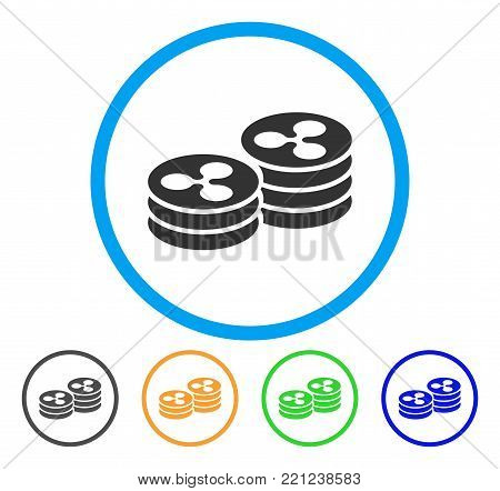 Ripple Coin Columns rounded icon. Style is a flat grey symbol inside light blue circle with additional colored versions. Ripple Coin Columns vector designed for web and software interfaces.