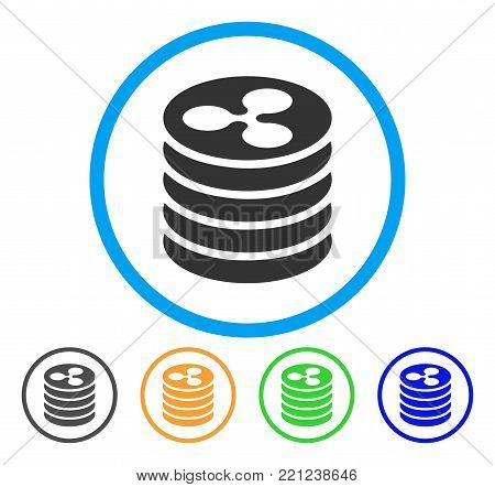 Ripple Coin Stack rounded icon. Style is a flat grey symbol inside light blue circle with bonus colored variants. Ripple Coin Stack vector designed for web and software interfaces.