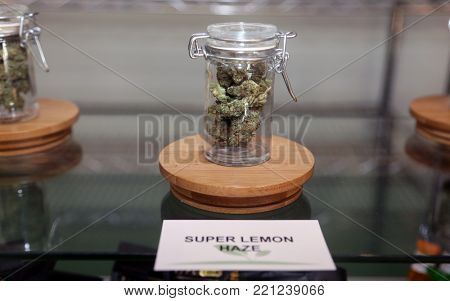 Los Angeles, California / USA January 1, 2018. California allows the sale and use of recreational marijuana by adults over 21 years old. Marijuana buds and hash for sale in a dispensary in Los Angeles