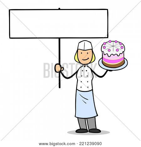 Cartoon woman was confectioner with blank sign and cake in her hands