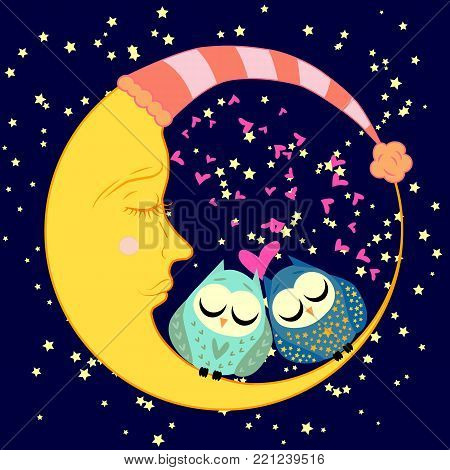 cute cartoon sleeping owl in circle with closed eyes sits on a drowsy crescent moon among the stars
