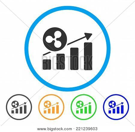 Ripple Growing Bar Chart rounded icon. Style is a flat grey symbol inside light blue circle with bonus colored variants. Ripple Growing Bar Chart vector designed for web and software interfaces.