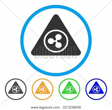 Ripple Hazard rounded icon. Style is a flat grey symbol inside light blue circle with additional colored versions. Ripple Hazard vector designed for web and software interfaces.