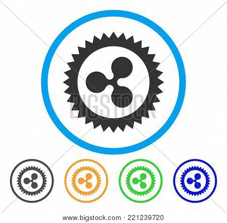 Ripple Insignia Stamp rounded icon. Style is a flat gray symbol inside light blue circle with additional color variants. Ripple Insignia Stamp vector designed for web and software interfaces.