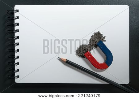 Red and blue horseshoe magnet or physics magnetic, pencil and compass with iron powder magnetic field on white paper notebook background. Scientific experiment in science class in school.