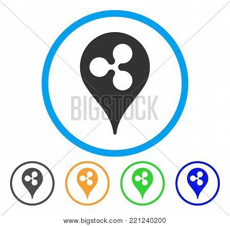 Ripple Pointer rounded icon. Style is a flat grey symbol inside light blue circle with additional colored variants. Ripple Pointer vector designed for web and software interfaces.