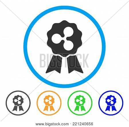 Ripple Reward Ribbons rounded icon. Style is a flat gray symbol inside light blue circle with bonus colored versions. Ripple Reward Ribbons vector designed for web and software interfaces.