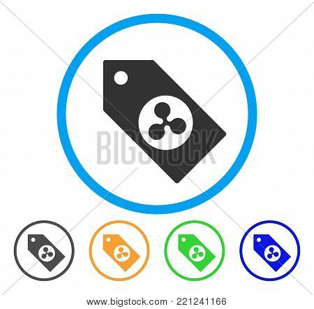 Ripple Token rounded icon. Style is a flat grey symbol inside light blue circle with additional colored variants. Ripple Token vector designed for web and software interfaces.