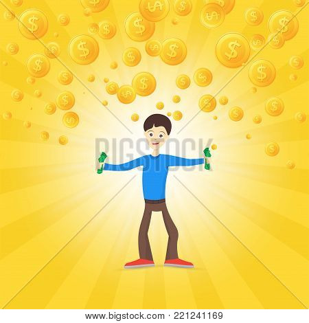 Young man is happy about money. Holds money in his hands. Gold coins are falling. Vector illustration.