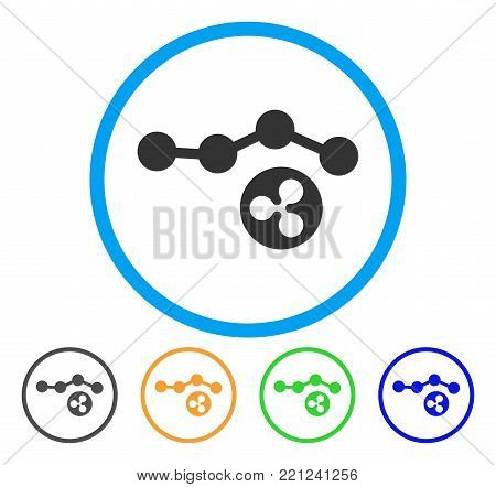 Ripple Trend rounded icon. Style is a flat gray symbol inside light blue circle with additional colored variants. Ripple Trend vector designed for web and software interfaces.
