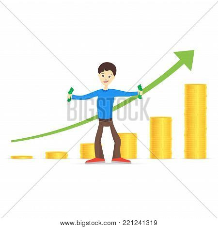 Young man is happy about money. Holds money in his hands. Growth chart.  Vector illustration.