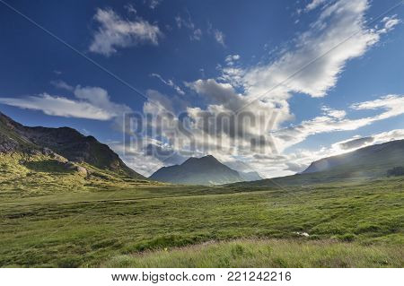Late Summer Afternoon Glencoe Next To Buachaille Etive Mor In Scotland.