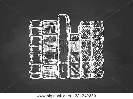 Vector illustration of the books spines. Stylized drawing with chalk on blackboard.