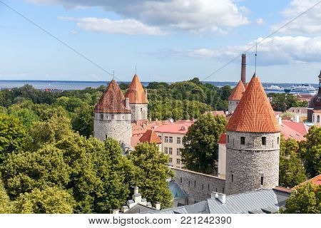 City wall and watchtower in old Tallinn, Estonia. Stock photo