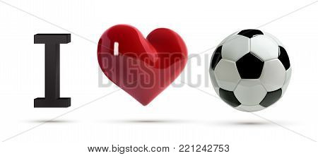 Soccer or football Vector Ball and red heart. Realistic soccer ball with love heart in 3d Style. Football love banner.
