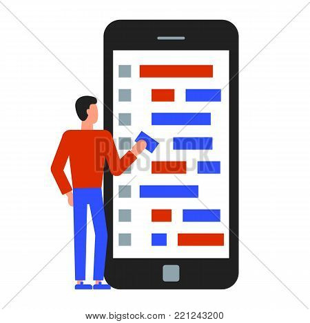 Vector illustration of programmer writing a code for mobile application