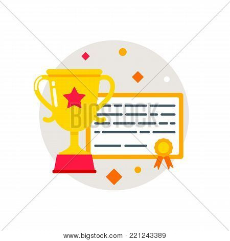 Trophy, certificate, diploma. Awards icon, flat style