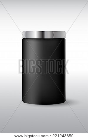 Round black  matte plastic jar with  metal lid for cosmetics - body cream, butter, scrub, bath salt, gel, skin care, powder. Realistic packaging mockup template. Side view. Vector illustration