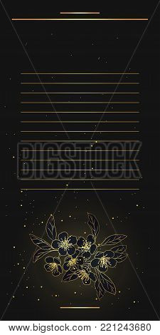 Vintage floral background.wedding card or invitation border of bouquet of cherry blossoms.Night party.Spring background.Golden blossom of a cherry tree in a dark night sky.Vector Illustration.Eps 10.