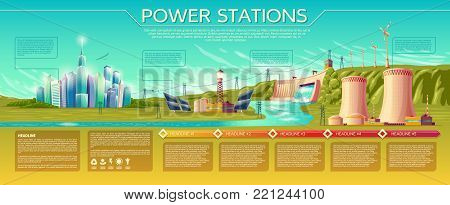 Vector power stations, modern city. business presentation, banner, brochure template. Infographics, text space. Renewable alternative, nuclear energy. Illustration with solar panel, windmill water dum