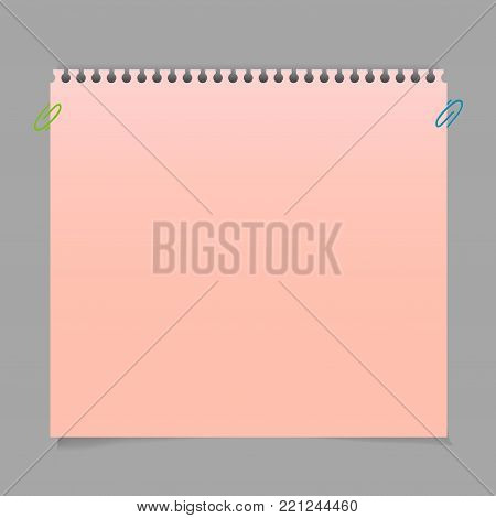 Realistic red memo stickers with shadow and curled corner mockup. Vector sticky notes paper sheets templates, reminders. Vector illustration stock vector.