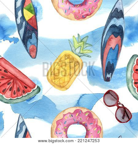 Watercolor beach pattern. Hand painted pool floats, water, sunglasses, surfing board isolated on white background. Vacation illustration. For design, print or background