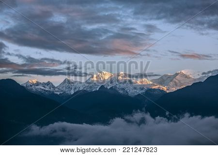 Kangchenjunga mountain view from Pelling in Sikkim, India. Kangchenjunga is the third highest mountain in the world.