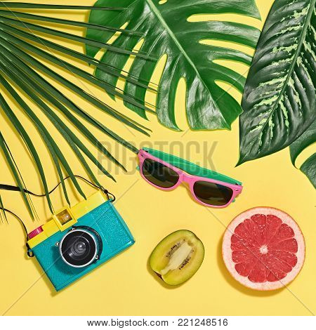 Tropical Palm Leaves, Fresh Fruits. Colorful Hot Summer Vibes. Fashion concept. Trendy Sunglasses, fashion Hipster Accessories. Retro Design camera