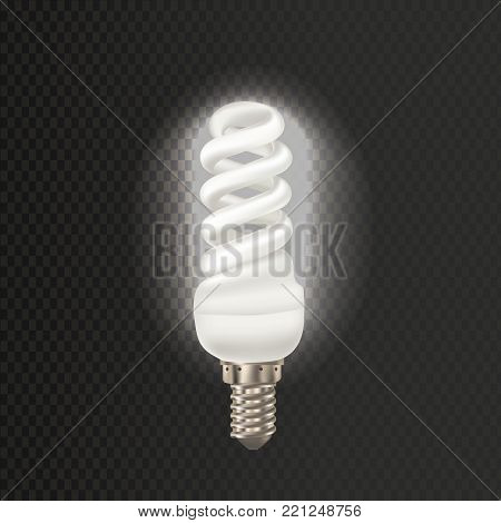 Light realistic luminescence fluorescent lamp, with different bandwidth. Economical, energy-saving light bulbs. Fluorescent lamp in aluminium body, elongated swirling shape. Vector illustration.