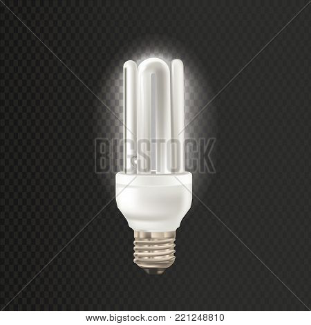 Light realistic luminescence fluorescent lamp, with different bandwidth. Economical, energy-saving light bulbs. Fluorescent lamp in aluminium body, elongated shape. Vector illustration.