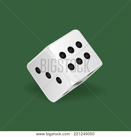 Realistic white dice. Gambling game, casino, dice. Hobbies, professional occupations. Dice casino gambling, with random various numbers: three, five six Vector illustration isolated