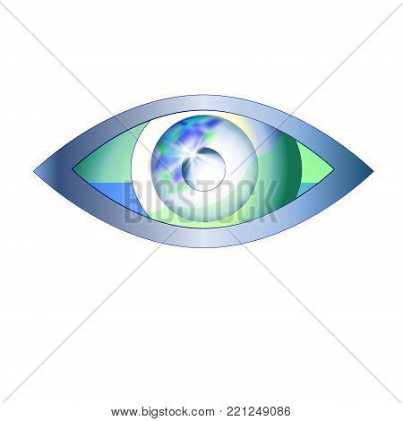 The eye looks in the world. Eye vision vector logo design template. Optics Oculist sign. Search inspection looking. Abstract. Ophthalmologist symbol. Vector illustration.