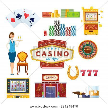 Casino Las Vegas. Types money: cards, coins, bills, roulette. Success, luck, happiness. Casino jackpot, slot machine chance gamble poker chips casino equipment and gambling Vector illustration
