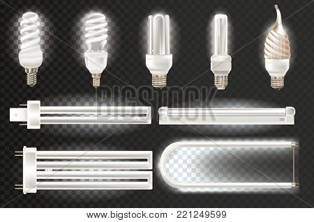 Set various light realistic luminescence fluorescent lamps, different shapes, bandwidth. Economical, energy-saving light bulbs. Fluorescent, neon halogen lamps in aluminium body. Vector illustration.